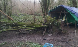 Ash Fall by tent Jan 2013 Panteg