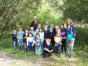 Ferryside Primary school pupils and Mrs Howells